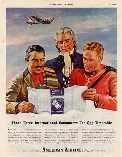"American Airlines Ad ""These Three International.. (1944)"