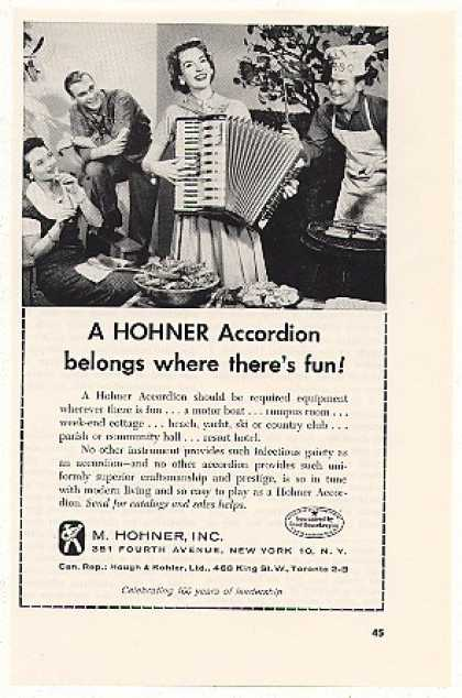 Hohner Accordion Belongs Where Theres Fun (1958)
