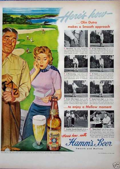 Hamms Beer Olin Dutra Smooth Approach Golf Lady (1949)