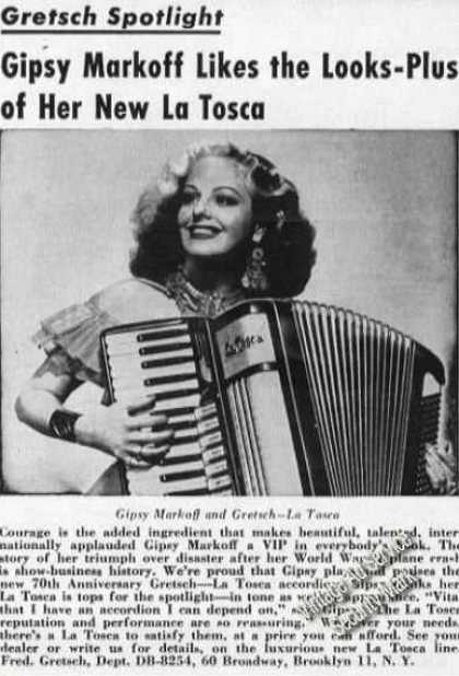 Gipsy Markoff Photo Gretsch-la Tosca Accordion (1954)