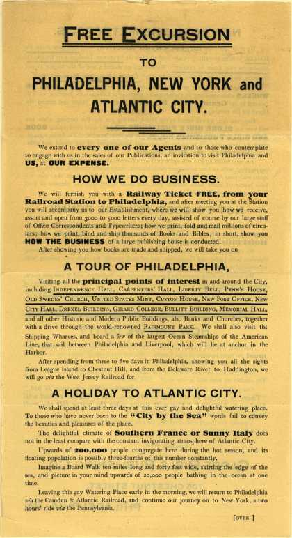 Globe Bible Pub. Co.'s books (canvassing) – Free Excursion to Philadelphia, New York, and Atlantic City.
