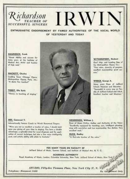 Richardson Irwin Voice Teacher Trade (1948)