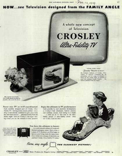 "Avco Manufacturing Corporation's Crosley 12 1/2"" TV's – Now... see Television designed from the Family Angle (1949)"