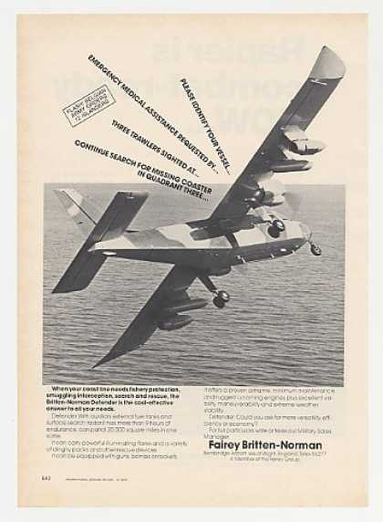 Fairey Britten-Norman Defender Aircraft Photo (1976)