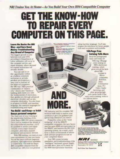NRI Schools Ad- Old Computers – IBM, Epson, Apple (1986)