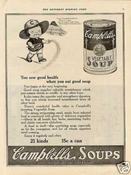 """Campbell's Vegetable Soup Ad """"You Sow Good... (1920)"""