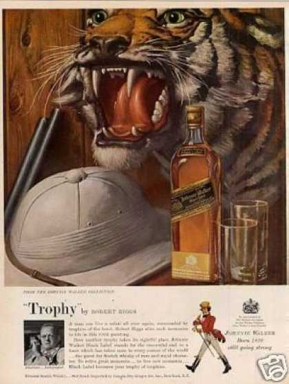 Johnnie Walker Scotch Whisky Ad Robert Riggs Art (1957)