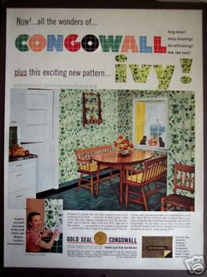 50's Kitchen Decor Ivy Wall Pattern Congowall (1952)