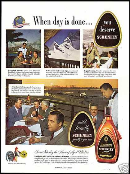 Schenley Whiskey La Guardia Airport Havana Alps (1948)