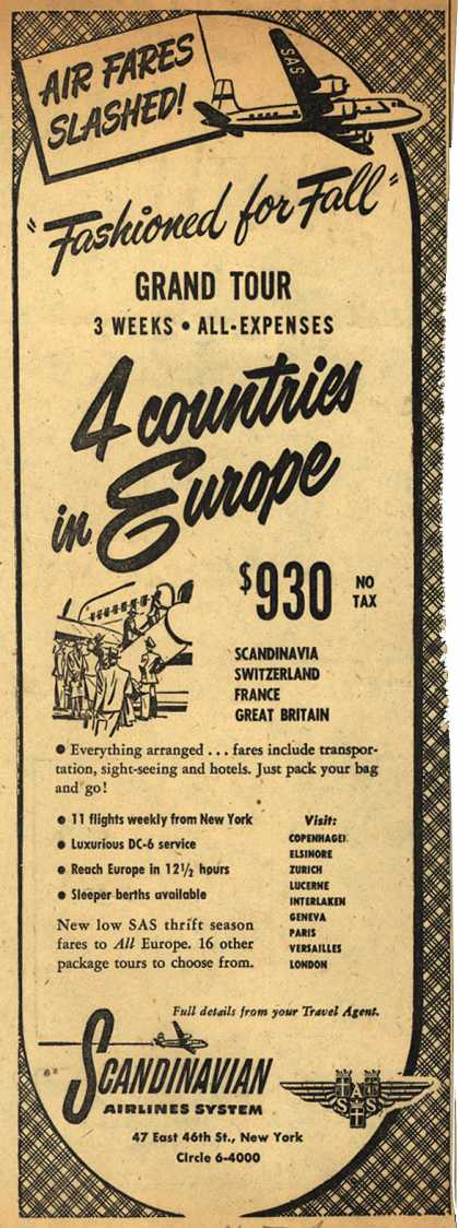 "Scandinavian Airlines System's ""Fashioned for Fall"" Grand Tour – 4 countries in Europe (1951)"