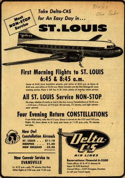 Delta C & S Air Line's St. Louis – Take Delta-C&S for An Easy Day in... St. Louis (1953)