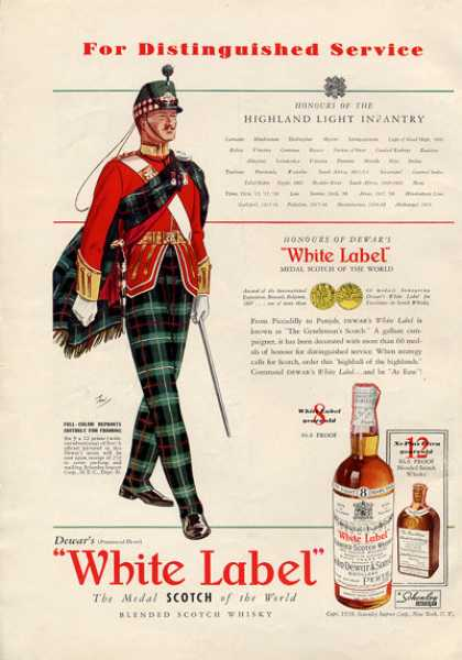 Dewar White Label Whisky Highland Infantry (1938)