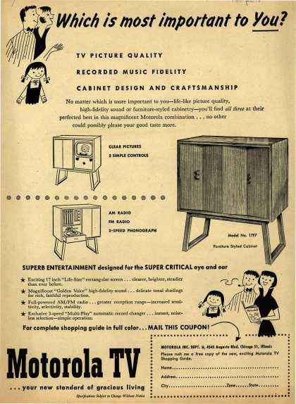 Motorola's Model No. 17F7 – Which is most important to You? (1951)