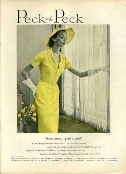 Peck and Peck Fashion Yellow Dress (1951)