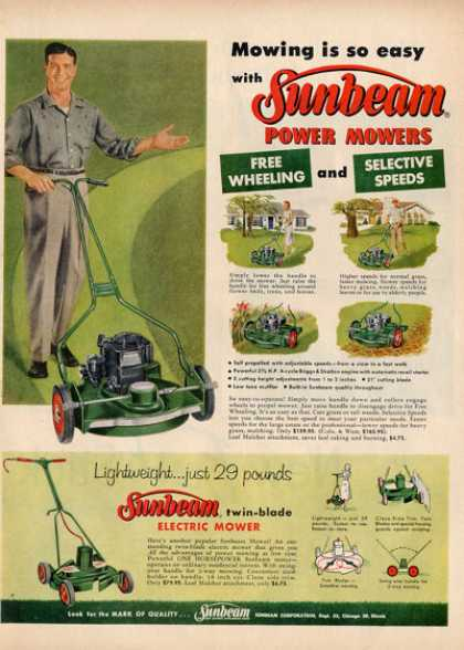 Sunbeam Electric Power Lawnmower Ad T (1957)