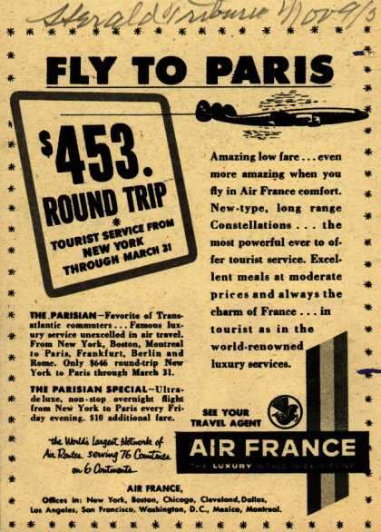 Air France's Round trip to Paris from New York – Fly to Paris (1952)