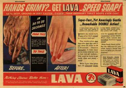 Procter & Gamble Co.'s Lava Soap – Hands Grimy? Get Lava Speed Soap (1943)