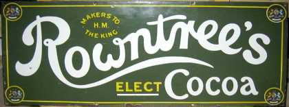 Rowntrees Elect Cocoa Enamel Sign Green
