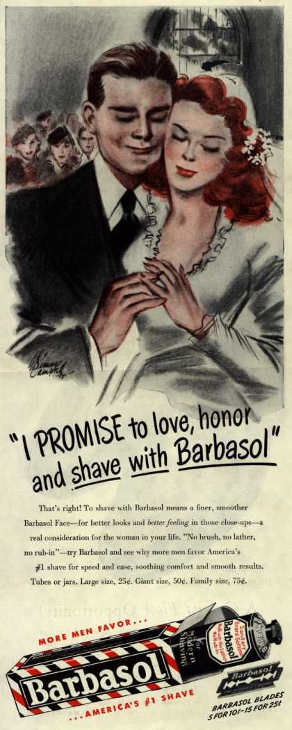 "Barbasol – ""I Promise to love, honor and shave with Barbasol"" (1946)"