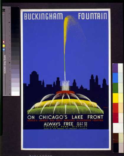 Buckingham Fountain on Chicago's lake front, world's largest and most beautiful illuminated fountain ... / Buczak. (1939)