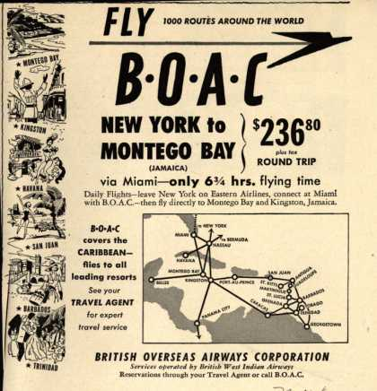 British Overseas Airways Corporation's Jamaica – BOAC New York to Montego Bay (1950)