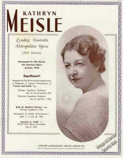 Kathryn Meisle Photo Leading Contralto Opera (1936)