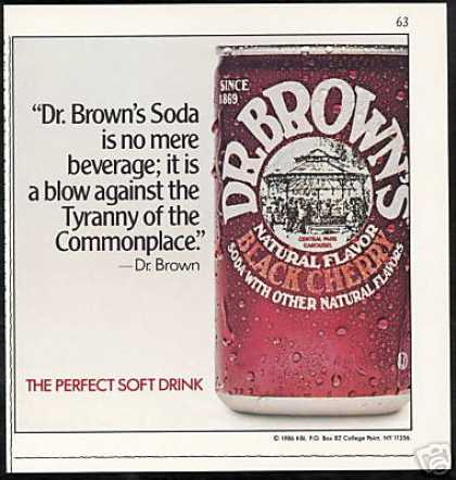 Dr. Brown's Black Cherry Soda Can Vintage (1986)