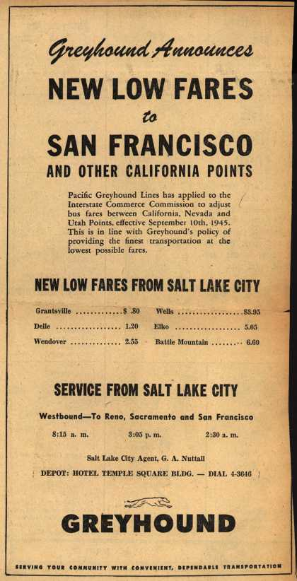 Greyhound's California – Greyhound Announces New Low Fares to San Francisco And Other California Points (1945)