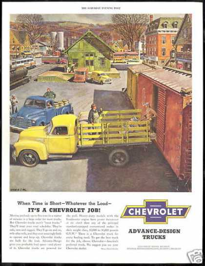 Chevrolet Pickup Truck Town Train Helck Art (1951)