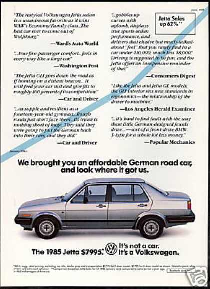 VW Volkswagen Jetta 4 Door Print Car (1985)
