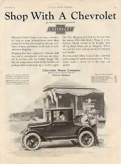"Chevrolet Utility Coupe Ad ""Shop With A... (1923)"
