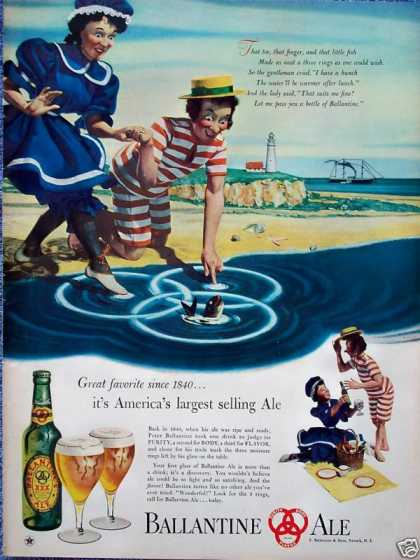 Ballantine Ale Old Time Bathing Suits Lighthouse (1947)