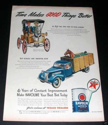 Texaco Havoline Oil, Old Truck Art (1945)