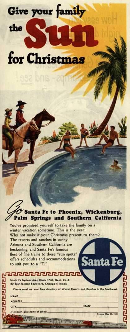 Santa Fe System Line's Arizona and Southern California – Give your family the Sun for Christmas (1949)