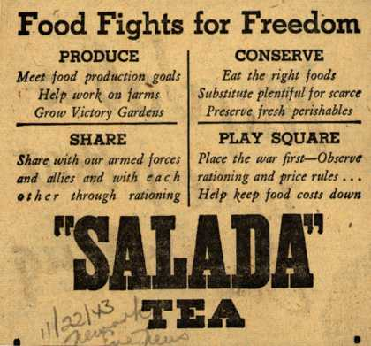 Salada Tea's Food – Food Fights for Freedom (1943)