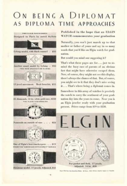 Elgin Watch Watches Diploma Time Graduation (1929)