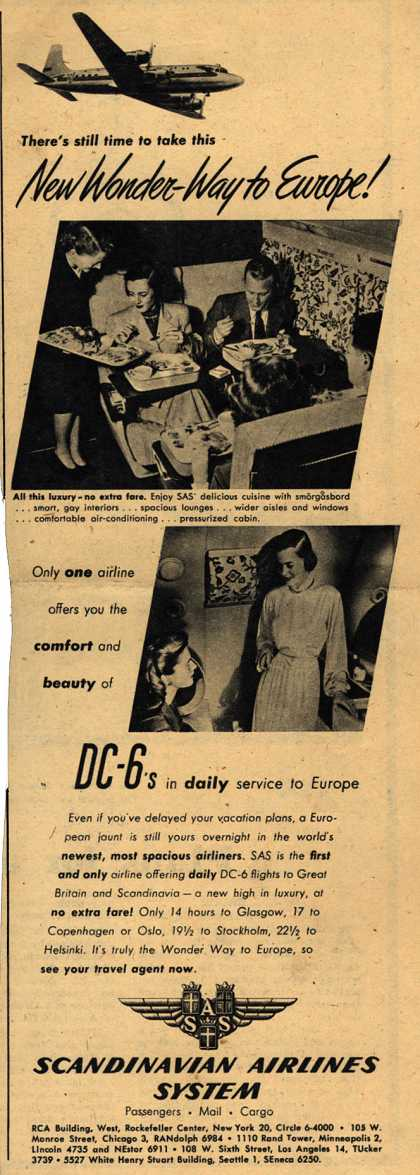 Scandinavian Airlines System's DC-6 daily service to Europe – New Wonder Way to Europe (1948)
