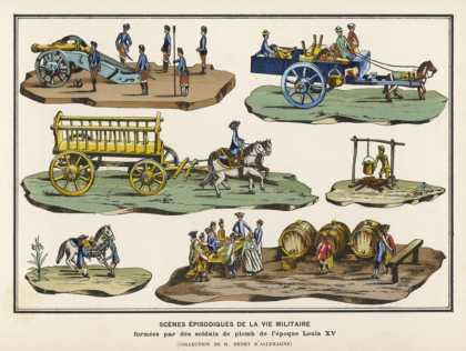 French Lead Toy Soldiers with Horses Carts Artillery and Other Equipment