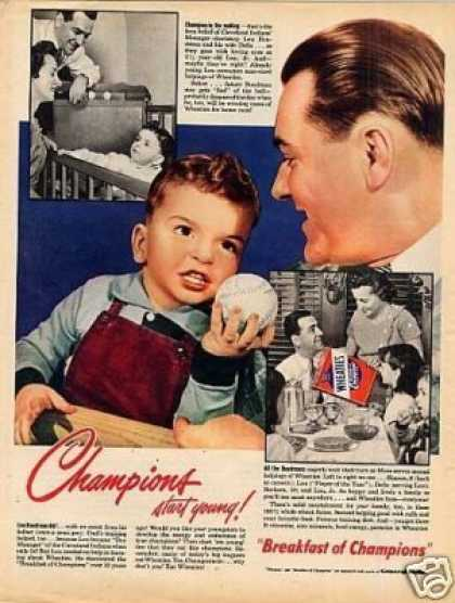 Wheaties Cereal Ad Lou Boudreau/clevel (1949)