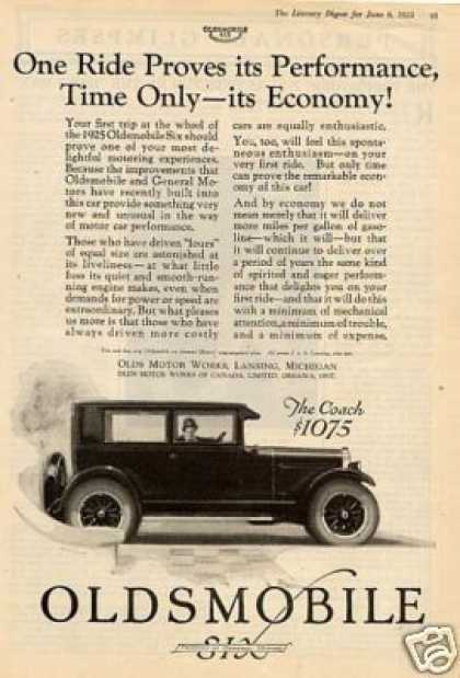 "Oldsmobile Six Coach Ad ""One Ride Proves.. (1925)"