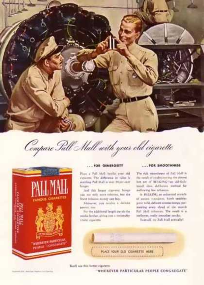 Pall Mall Cigarettes – Compare your old cigarette (1940)