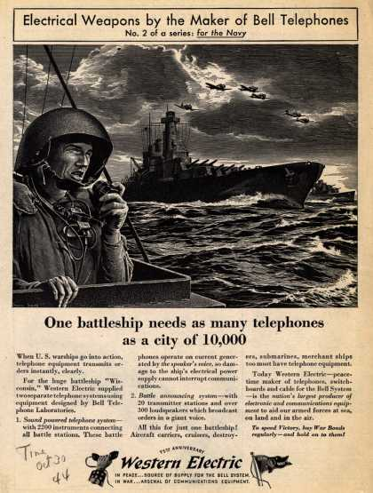 Western Electric's Radio – Our battleship needs as many telephones as a city of 10,000 (1944)