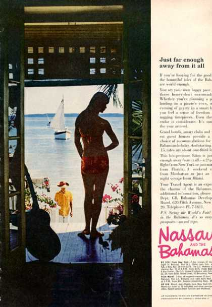 Nassau Bahamas Beach Hut Pretty Girl (1964)