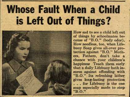 Lever Brothers Company's Lifebuoy Health Soap – Whose Fault When a Child is Left Out of Things? (1947)