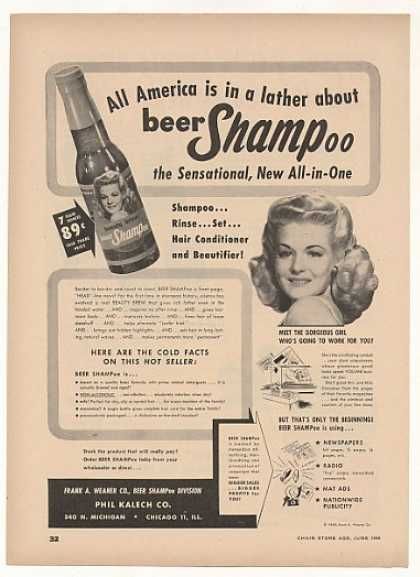 Frank A Weaner Beer Shampoo Gorgeous Girl Trade (1949)