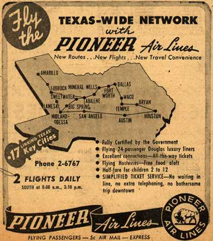 Pioneer Air Line's Texas destinations – Fly the Texas-Wide Network (1947)