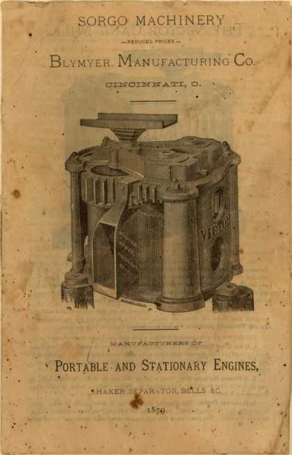 Blymyer Manufacturing Co.'s Portable and Stationary Engines – Sorgo Machinery (1879)