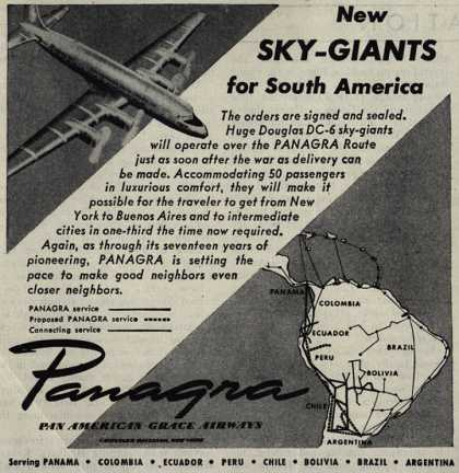Pan American Grace Airway's South America – New Sky-Giants for South America (1945)