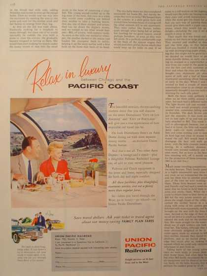 Union Pacific Railroad Relax in Luxury 3/4 pg (1958)