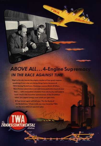Transcontinental & Western Air's Stratoliners – Above All... 4-Engine Supremacy In The Race Against Time (1941)